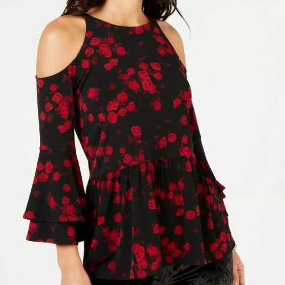Michael Kors Tops - NWT Michael Kors Black Red Rose Top